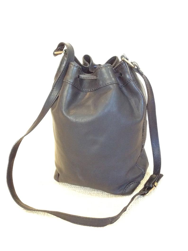 345800de2d Genuine BONIA vintage black leather drawstring shoulder bag | Etsy
