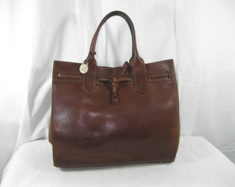 Vintage DOONEY & BOURKE brown leather tote shopper bag AWL