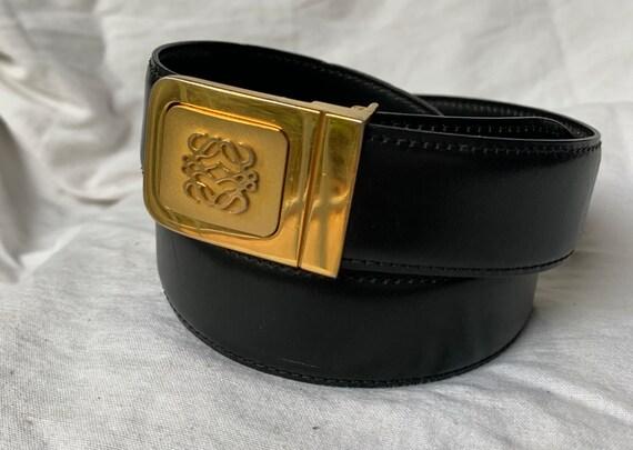 Vintage LOEWE Madrid logo black leather belt size