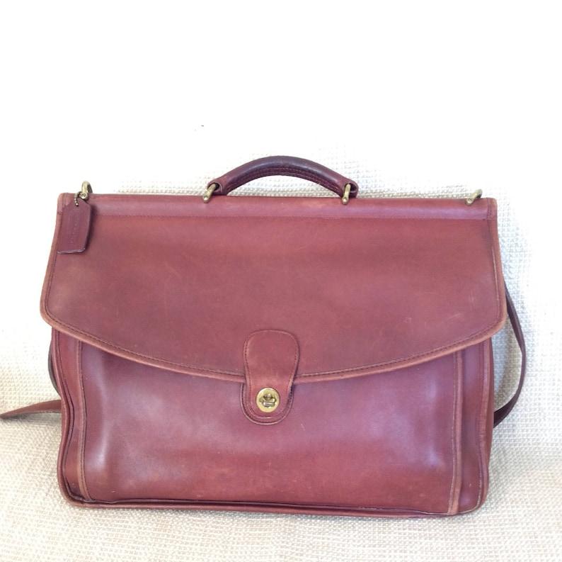 a16addf5e9 Vintage COACH Beekman brown leather briefcase work bag attache messenger  1995