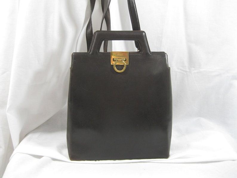 Genuine vintage SALVATORE FERRAGAMO Gancini brown leather  03e16810f90c1