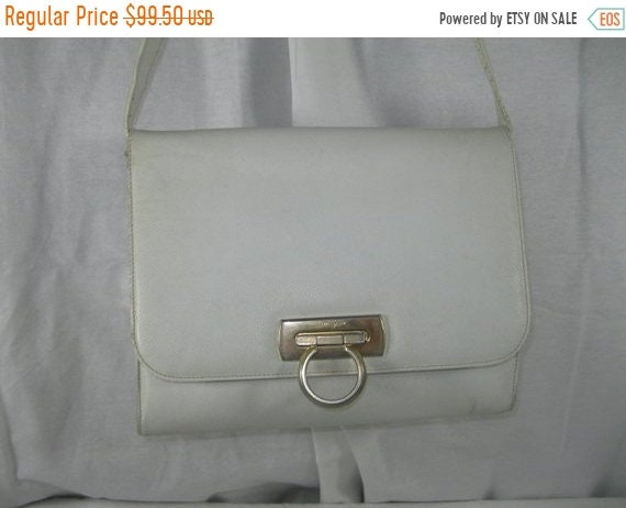 013664cc429 20% July 4th Sale Vintage SALVATORE FERRAGAMO white Gancini