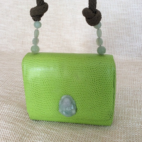 Vintage Ellies Designs handmade lime green leather