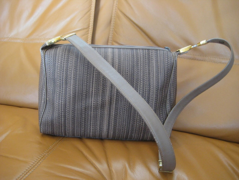 4a21036c7a9e Vintage Givenchy taupe leather and canvas shoulder bag hobo