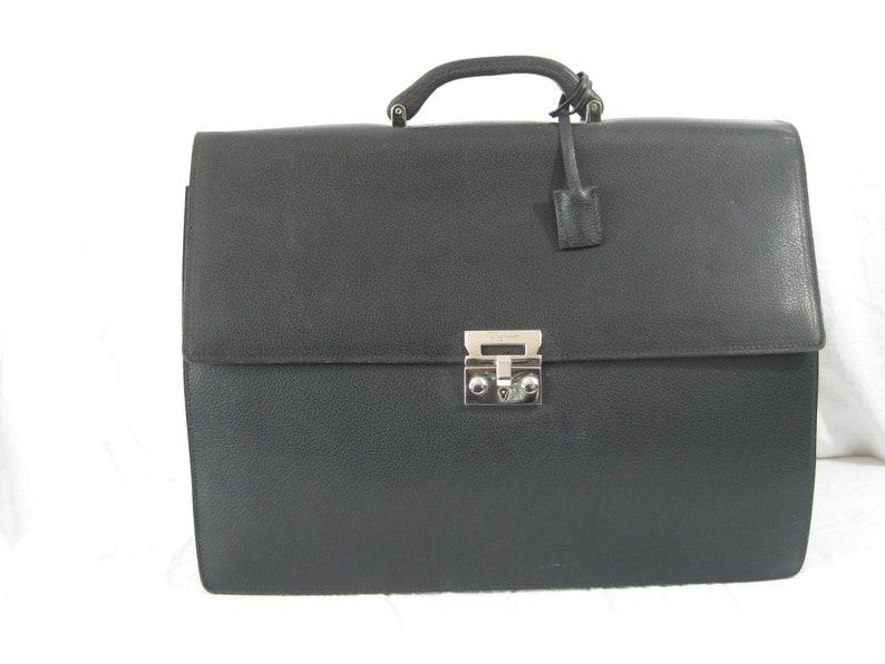 a7dcdf2bca Vintage SALVATORE FERRAGAMO black leather briefcase executive