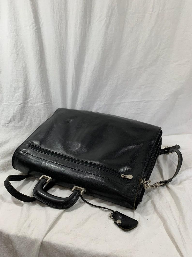 Genuine vintage black Italian leather briefcase messenger  work bag