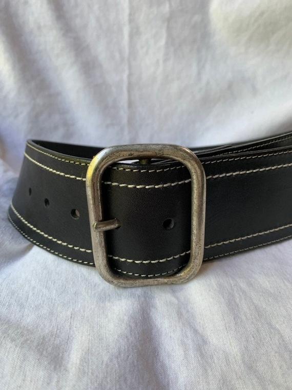 Genuine vintage ladies COLE HAAN wide black leather belt small 90s