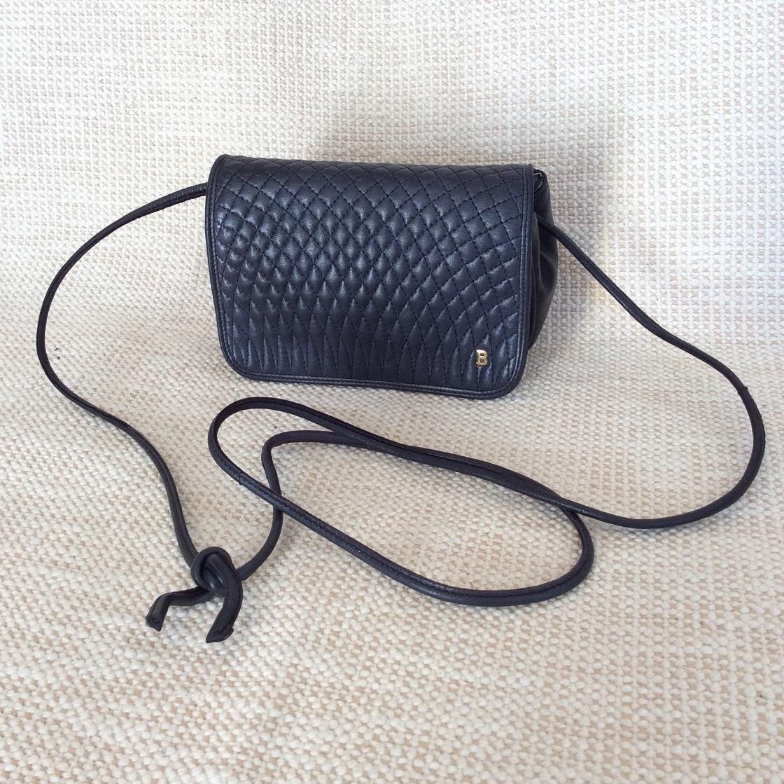 Genuine Vintage Bally Black Quilted Leather Shoulder Bag