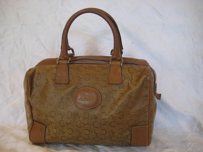 a7c0c40d928b Vintage tan iconic CELINE Paris signature logo satchel bag