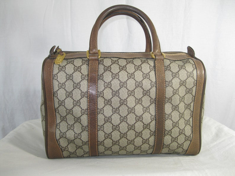 857a1f1e824 Vintage GUCCI brown signature leather and canvas speedy