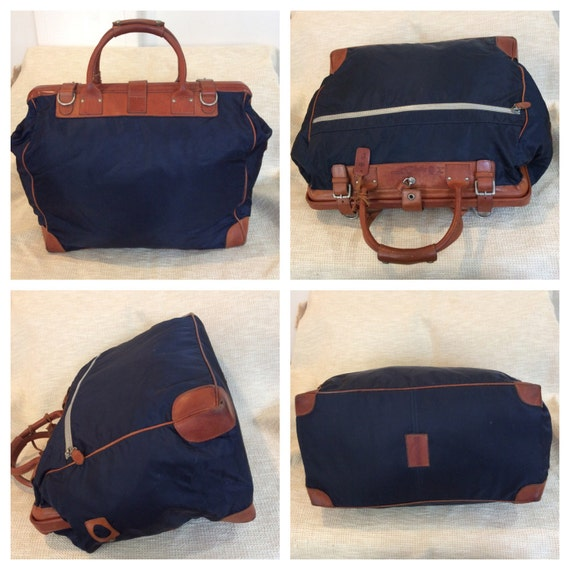 932e50b49995 Genuine vintage FELISI navy canvas and leather duffle travel