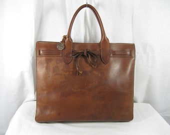 Vintage DOONEY & BOURKE brown leather tote shopper bag AWL distressed