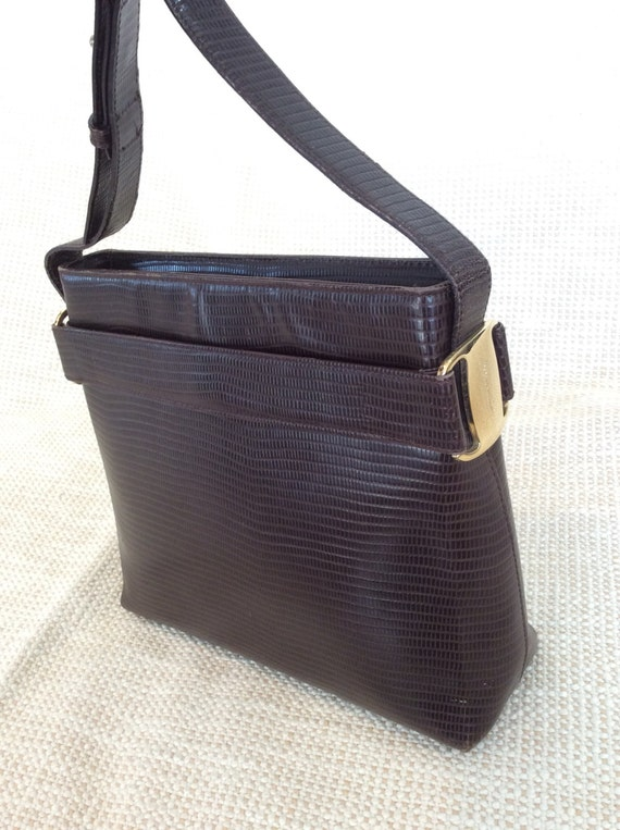 7595993980f Vintage Salvatore Ferragamo brown leather shoulder bag with   Etsy