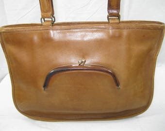 Genuine vintage COACH NYC Bonnie Cashin watermelon tan leather brief bag 70s