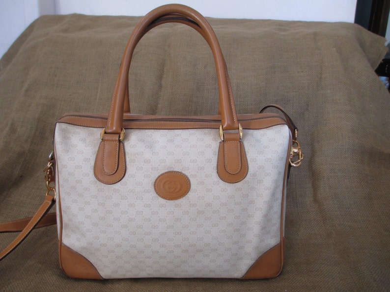 6ce9abbec9a Vintage GUCCI tan signature leather and canvas satchel bag