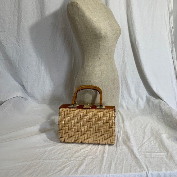 Genuine vintage LESCO glazed wicker vinyl lucite b