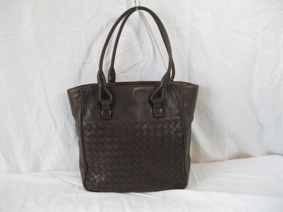 ca7d0c89e9f4 Vintage BOTTEGA VENETA brown nappa leather woven intrecciato