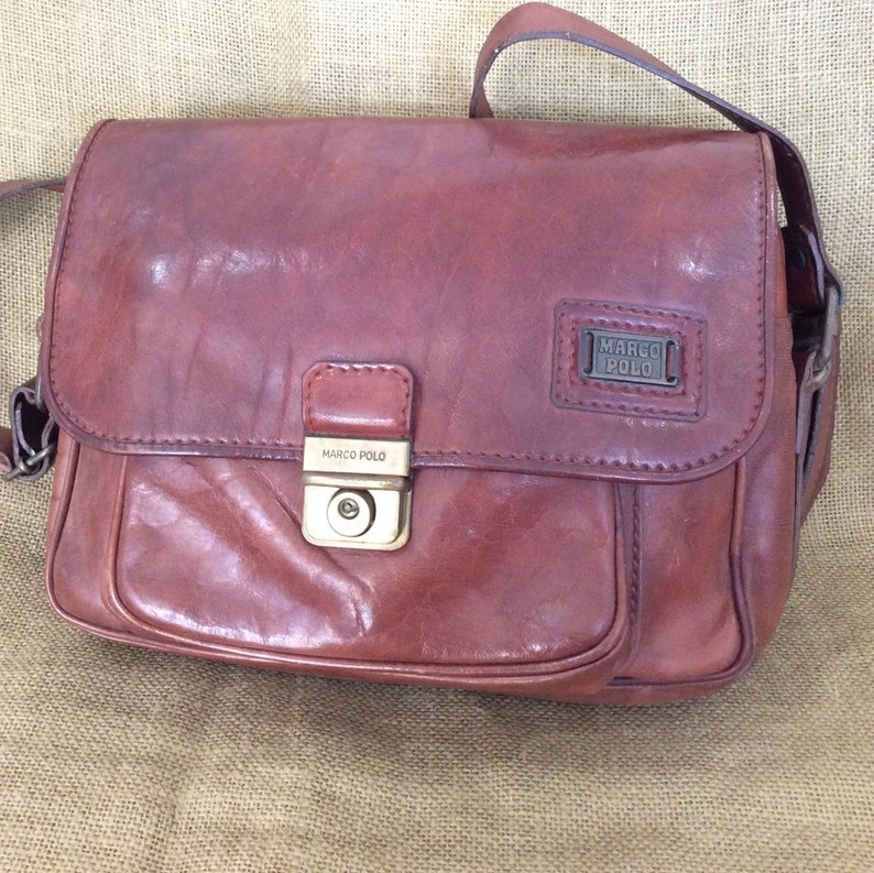 designer fashion fbcc9 86793 Genuine vintage MARCO POLO brown leather messenger bag crossbody