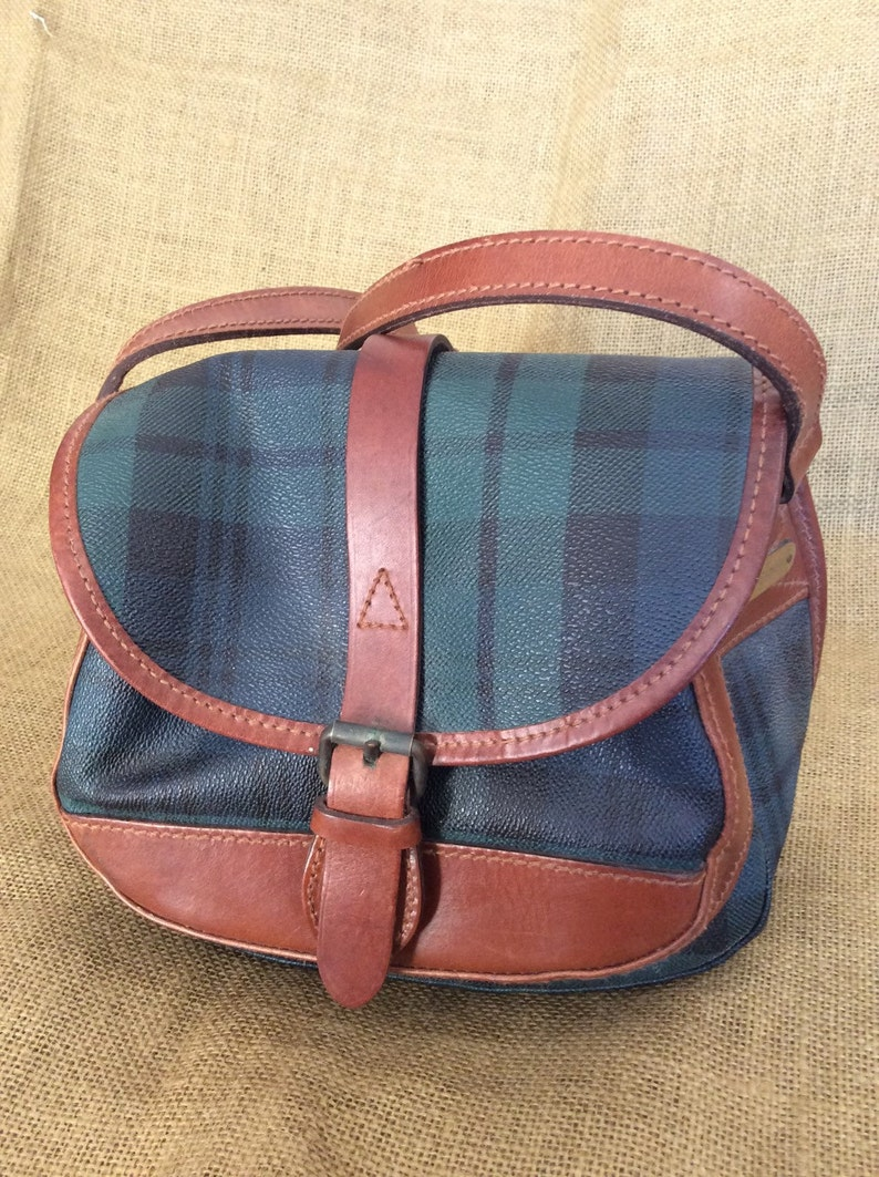 Vintage POLO RALPH LAUREN green plaid shoulder bag crossbody  e0af8578c25b1