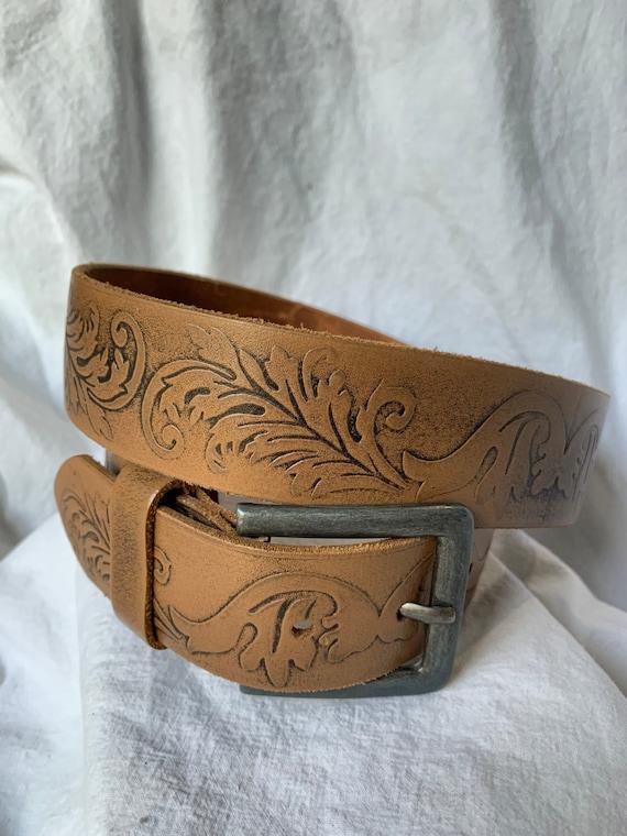 Vintage DIESEL tan leather belt size 36 unisex