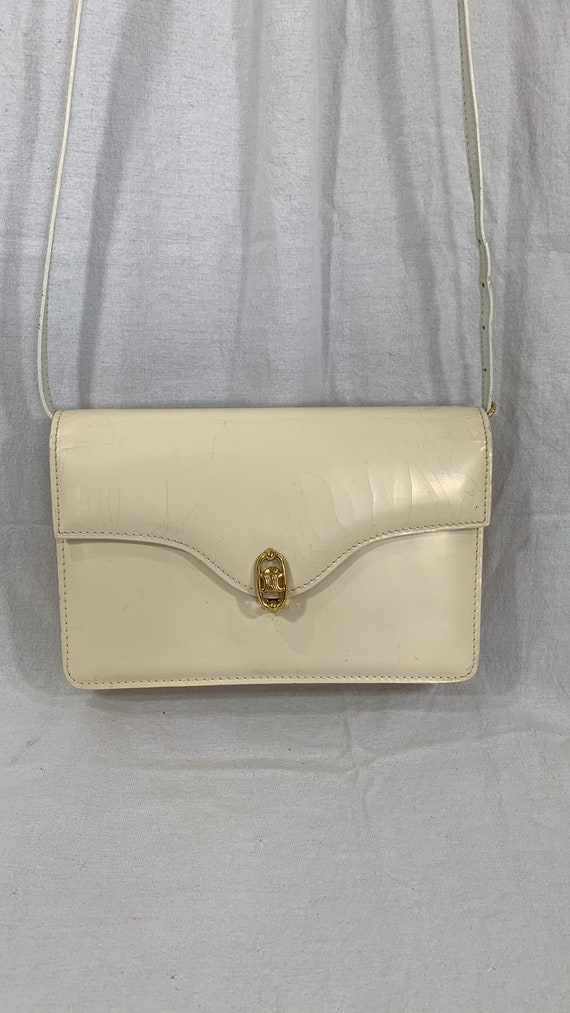 Vintage CELINE Paris ivory patent leather shoulder