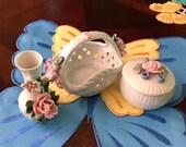 Three (3) Vintage Porcelain Ceramic Basket, Vase and Box