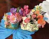 Two (2) Vintage Ceramic Porcelain Bunny Rabbit, Candle Holders or Vase Plant Holders