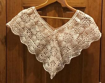 Vintage White Victorian Edwardian Style Crocheted Lace Detachable Yoke or Collar Handmade 1970s