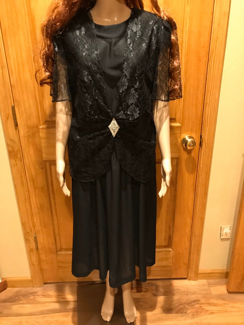 Black Evening Dress w Black Lace Shell Top Size 18 New with Tags by Franky B