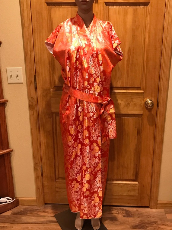 Oriental Japanese Kimono Robe Dress Size L, Vintag