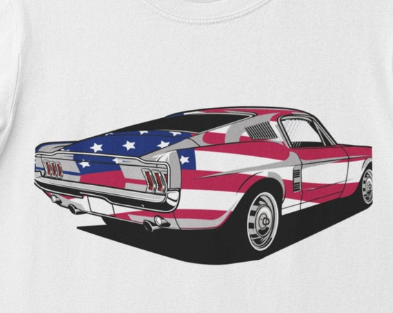 Flag Muscle Car T-Shirt, Gift for muscle car fans,  FAST SHIPPING!