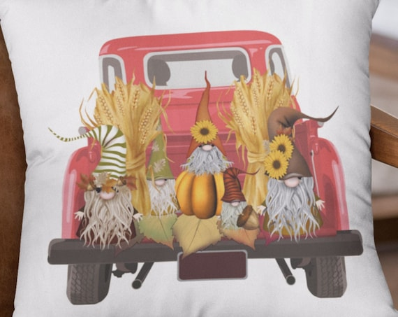 Fall Gnomes 18x18 Pillow Cover, Red Truck Fall 18x18 Pillow Cover
