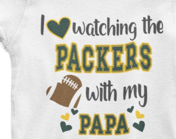 I Love Watching the Packers with my Papa (or Grandpa or Daddy or Mama or Nani or Pawpaw) Onesie or Toddler T-Shirt, Packer Fan