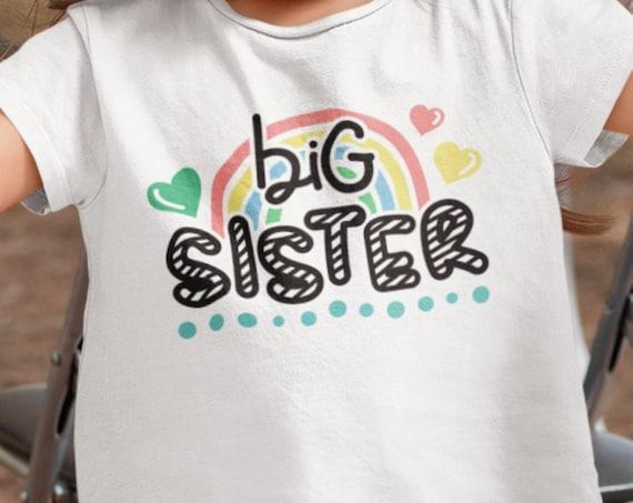"Pretty ""Big Sister/Little Sister"" Rainbow T-Shirt/Onesie, FAST SHIPPING!"