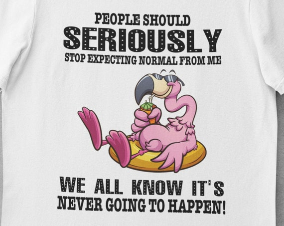 Fun T-Shirt! Great gift!  People should seriously stop expecting normal from me, we all know it's never going to happen, Flamingo