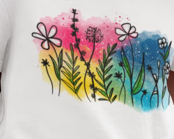 Pretty Back-to-School T-Shirt, Wildflower Watercolor T-Shirt, Youth or Toddler T-Shirt Flowers
