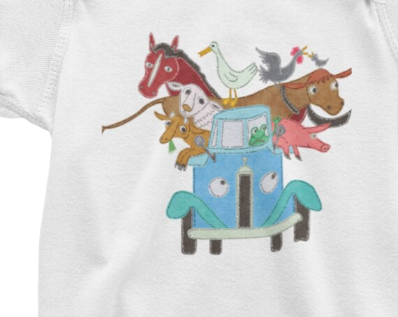 Animals in Truck Bodysuit or Toddler T-Shirt, Can Add Personalization (name...) underneath truck, Cute Animals Truck
