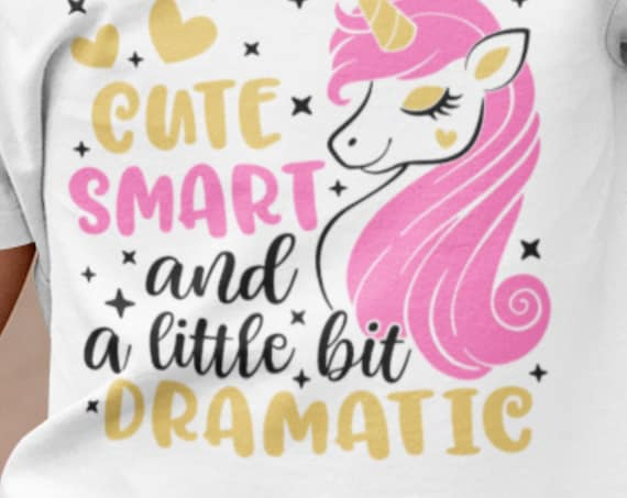 Little Girl's Cute, Smart and a Little Dramatic Unicorn Toddler T-shirt, PINK OR LAVENDER
