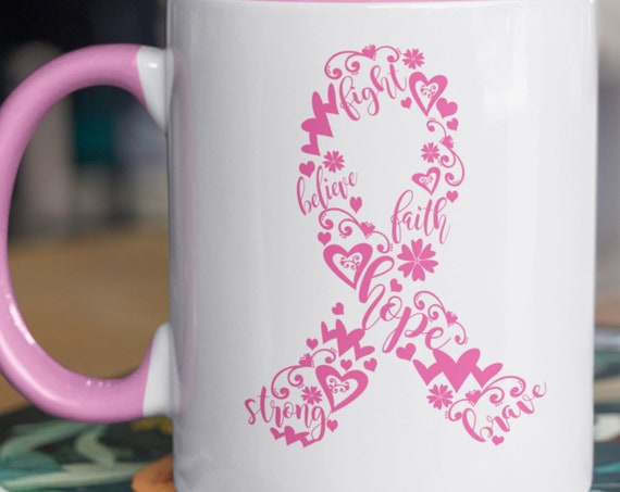 Breast Cancer Awareness 11 oz coffee mug, Breast Cancer Ribbon, Pink Hearts and Words regarding Breast Cancer