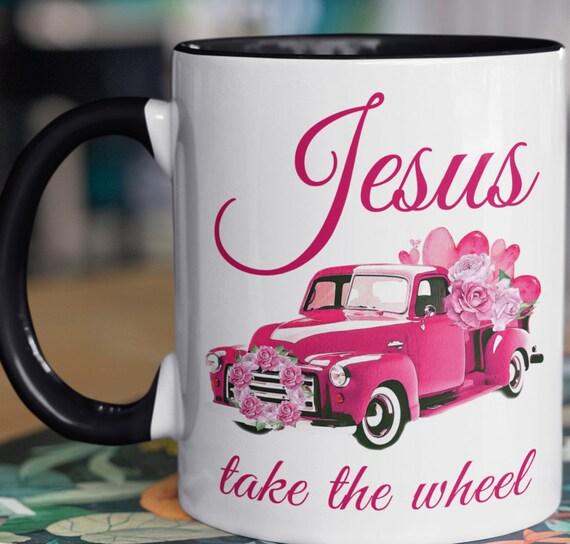 Jesus Take the Wheel, Breast Cancer Awareness, 11 oz mug, October Breast Cancer Awareness