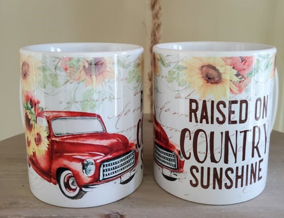 Raised on Country Sunshine 11 oz Coffee Mug, Old Red Truck with Sunflowers, Great Gift for Friends, Great Gift for Co-workers, Neighbors..
