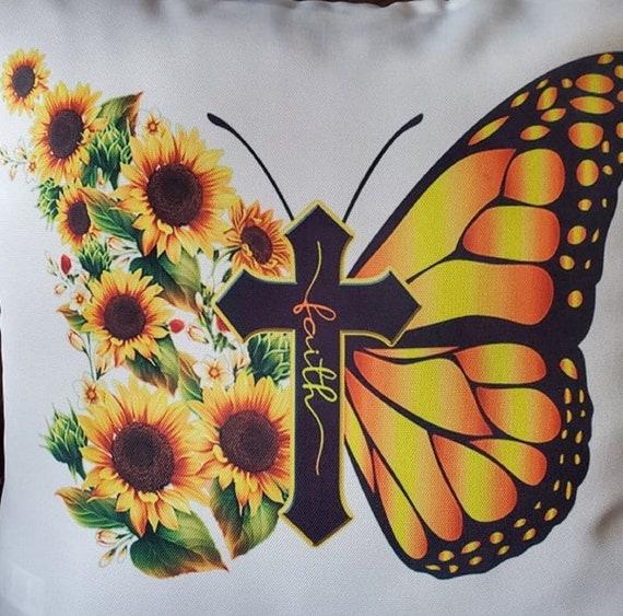"PILLOW COVER for 18""x18"" Pillow, FAITH/Sunflower/Butterfly Print, Gift for Mom, Gift for Grandma, Butterfly Pillow, Sunflower Pillow"