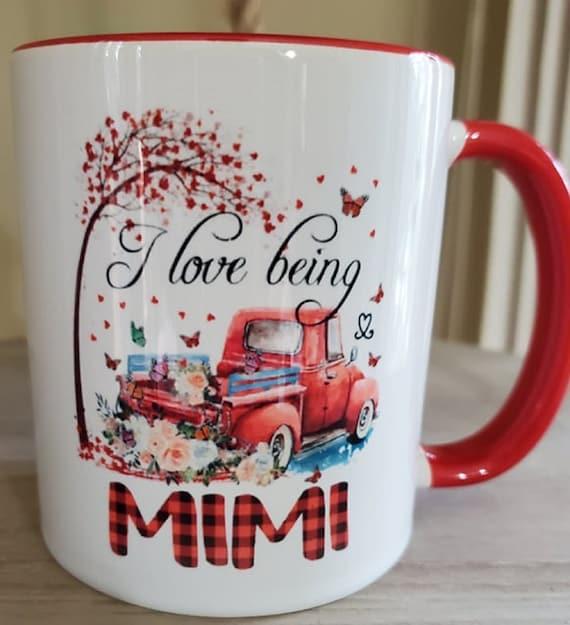 I Love Being Mimi (or Grandma or Nana or Mawmaw... ) 11 oz Coffee Mug, Floral, Red Truck, Great Gift!