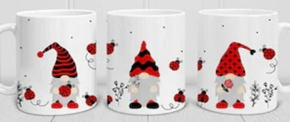 Adorable Ladybug Gnome 11 oz Coffee Mug, Cute Gift for friends, co-workers, anyone!