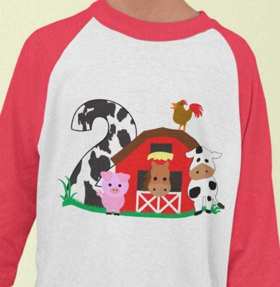 2nd Birthday on the Farm Toddler T-shirt, Size 3, Red or Black Raglan Sleeves, Name can be added under the image.