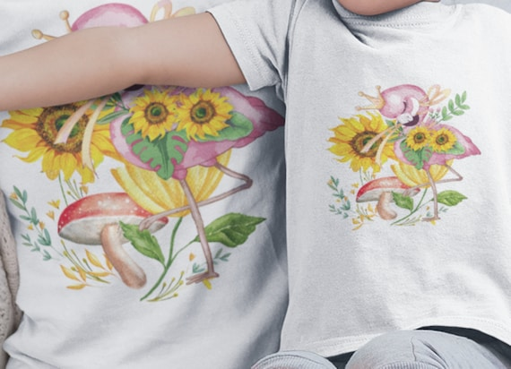 Pretty Flamingo Butterfly T-Shirt in any size Toddler-Youth-Adult