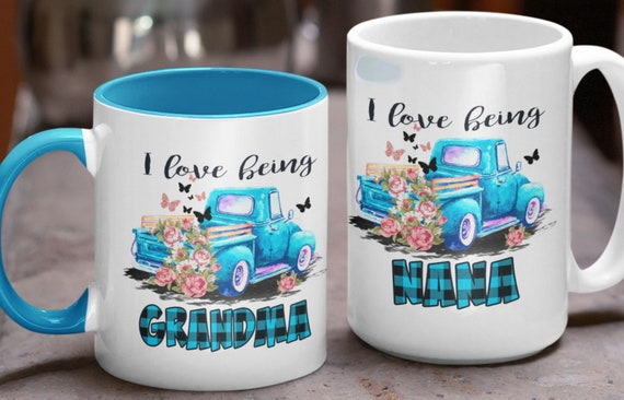 I Love Being Grandma (or Nana or Mimi or Grammy or Weezie or...) Mugs, Old Blue Truck, Great Gift!