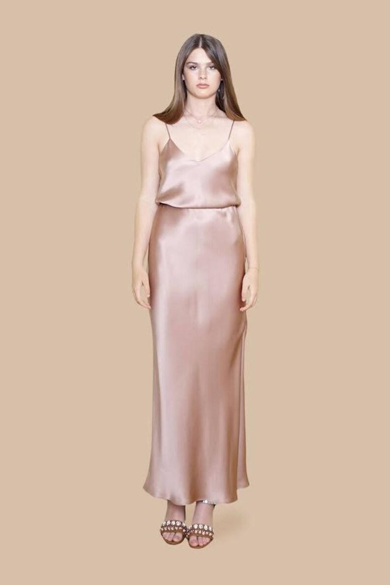 e0b81704bd0 SILK MAXI SLIP Dress With Flattering Tie Sash Charmeuse Silk