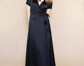 WRAP DRESS in Pure Silk   Available in Midi or Maxi Lengths   Pure Silk in All Silk Colors   A-Line Skirt