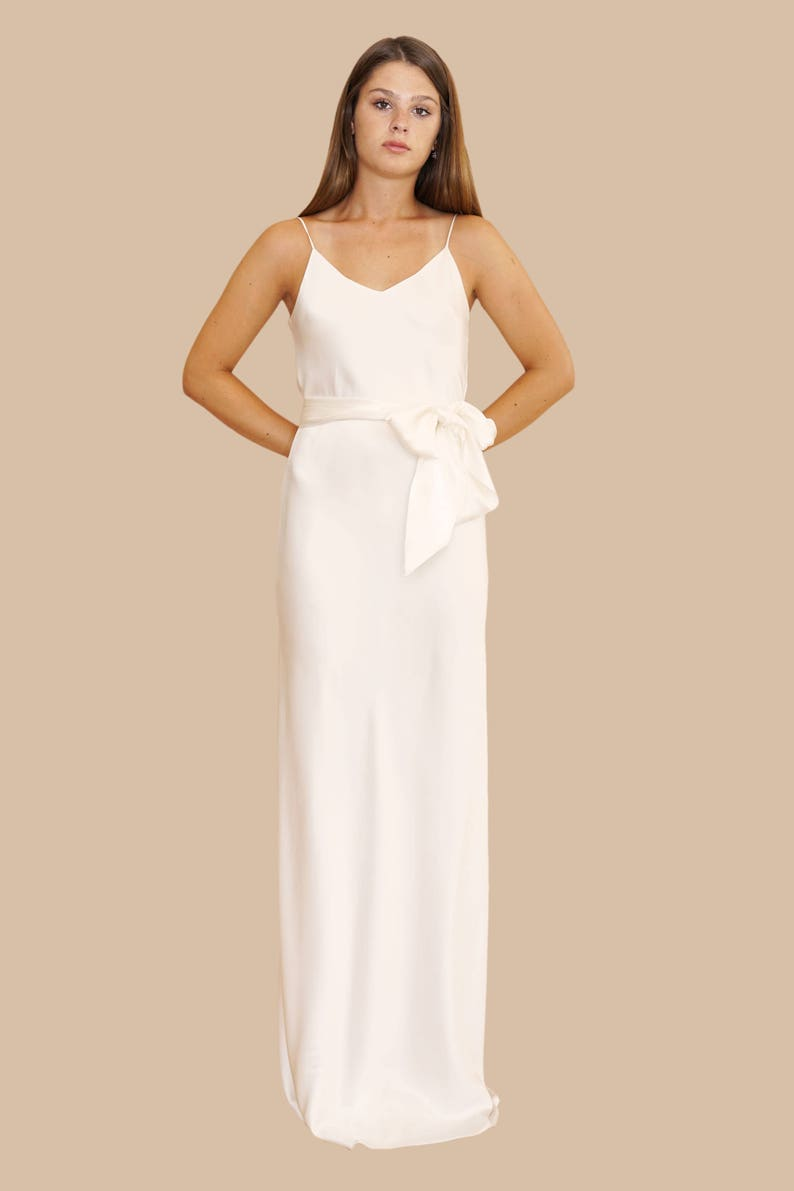 3d6b003caab SILK EXTRA LONG Gown and Tie Sash V Neckline or Cowl Neck